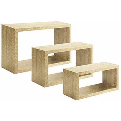 Set 3 cubi, mensole da parete in legno dal design moderno
