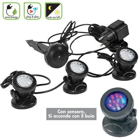Sensore Per Accendere La Luce.Set 3 Faretti Per Laghetto Con Sensore Di Accensione Sommergibili