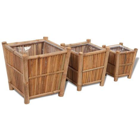 Set 3 macetas de bambú con forro de nylon