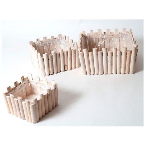 Set 3 maceteros square madera