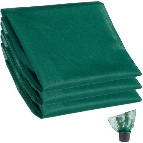 Set 3 Mallas Antiheladas para Plantas y Árboles con Cordón, Polipropileno, Verde, 80 x 100 cm