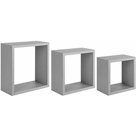 "Set 3 mensole in legno ""Incubo"", design a forma di Cubo, da parete"