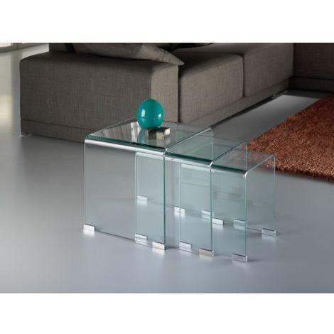 SET 3 MESITAS NIDO GLASS Color Transparente