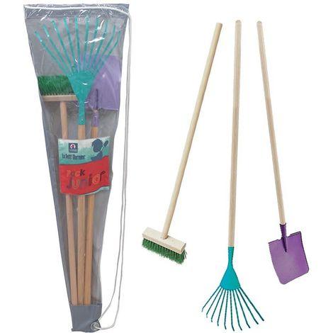 Set 3 outils enfant entretien du jardin + sac de transport