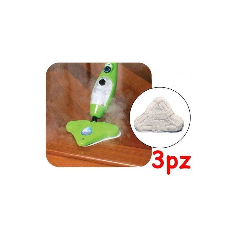 SET 6 PANNI MICROFIBRA  PER SCOPA A VAPORE X5 H2O MOP H20  CON VELCRO PAVIMENTI