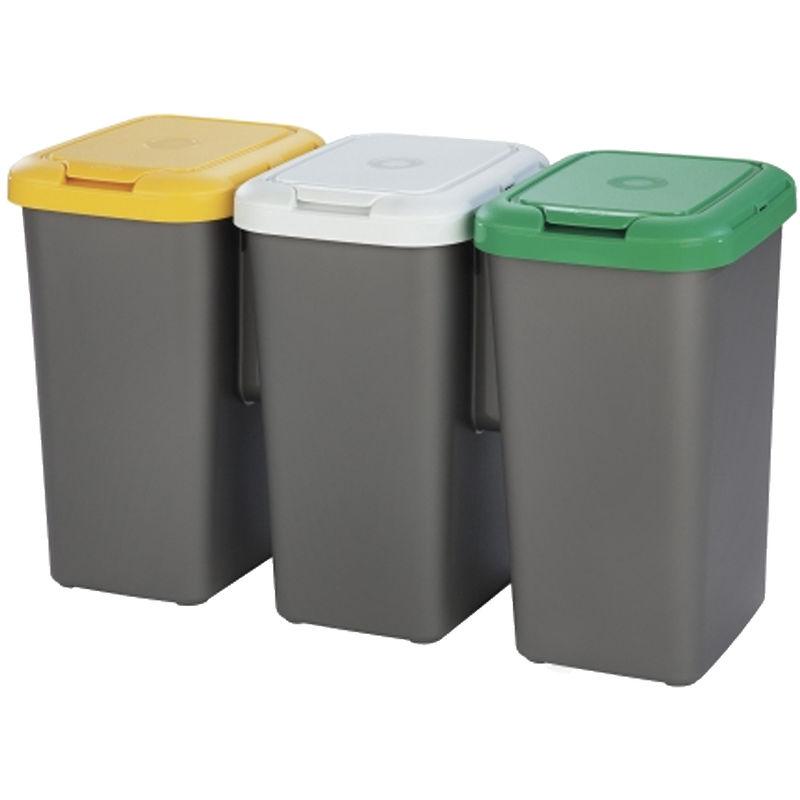 Set 3 papeleras de reciclaje de 75 litros en total fabricadas en plástico 79 x 33 x 48 cm - TONTARELLI