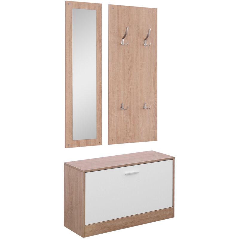 benzoni Set 3 Pezzi Scarpiera Appendiabiti Specchio da Ingresso in Legno 80x27x46.5 cm