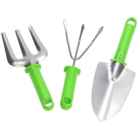 Set 3 Pezzi Utensili Giardinaggio Rastrello Pala Maniglia Manutenzione Giardino