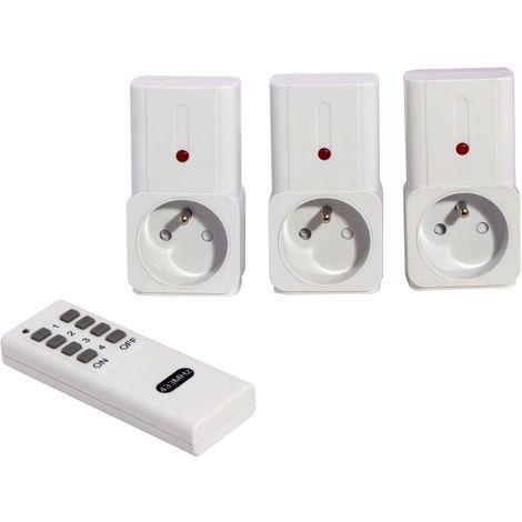 Set 3 prises télécommandées + télécommande 4 canaux - Blanc