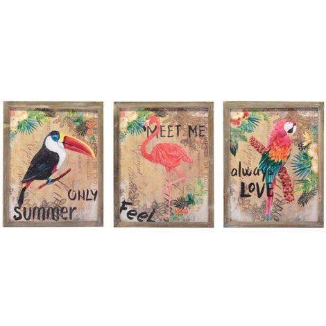 58daa54a1b set 3 quadri stampa su legno vintage con cornice