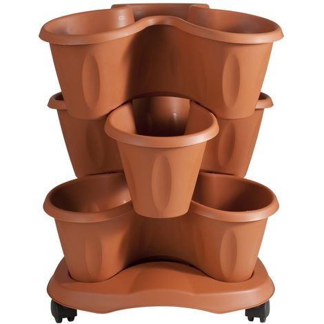 Set 3 vasi trifoglio con sottovaso