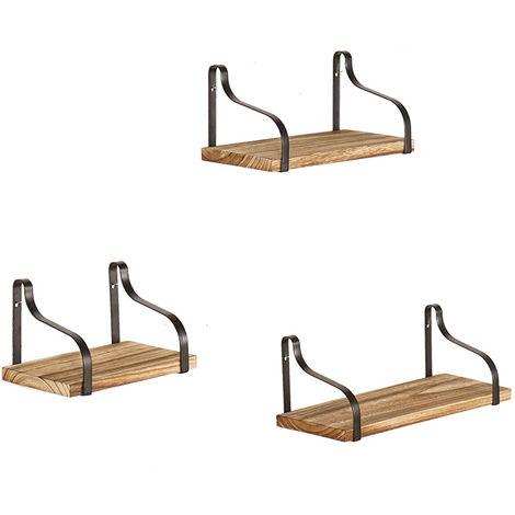 Set 3Pcs Floating Wooden Wall Shelves For Living Room Bedroom Office Or Kitchen Hasaki