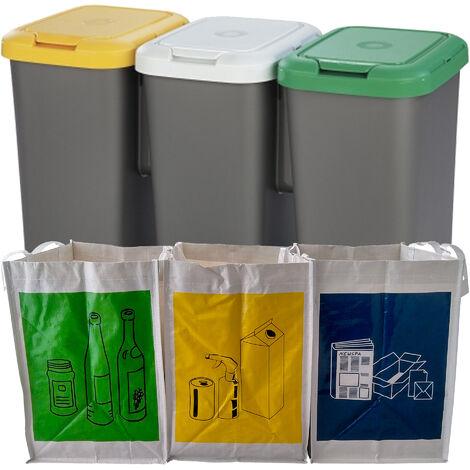 Set 3x25L poubelles de recyclage en plastique 79 x 33 x 48 cm + 3 bacs de recyclage blancs réutilisables