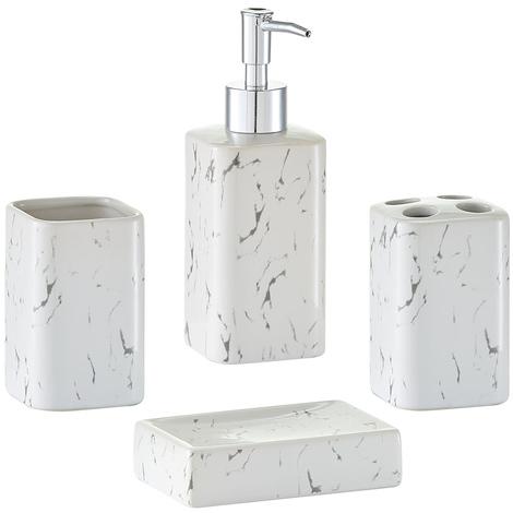 Accessori Bagno In Marmo.Set 4 Accessori Da Bagno In Ceramica Effetto Marmo