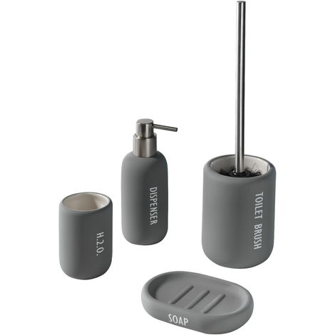 Accessori Da Bagno In Ceramica.Set 4 Accessori Da Bagno In Ceramica Tft Accessories Grigio