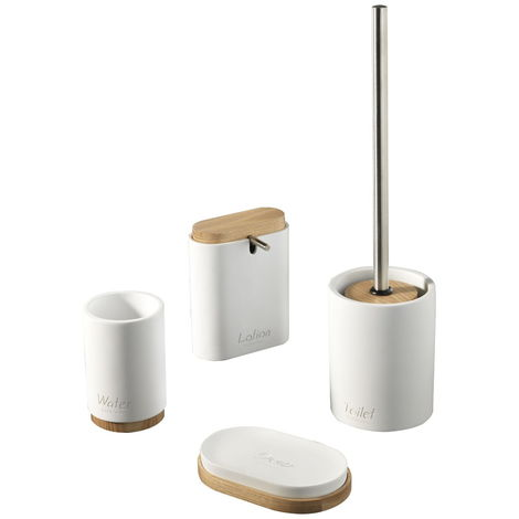 tft Set 4 Accessori da Bagno in Resina Accessories Bianco e bamb/ù