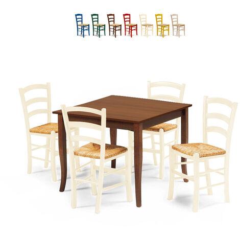 Set 4 chaises et table carrée intérieur cuisine bar bois RUSTY