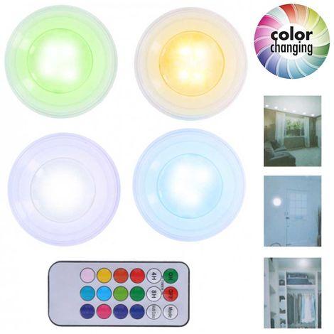 Colori Con La P.Set 4 Faretti Led Wireless Adesivi Luce Faretto Cambio