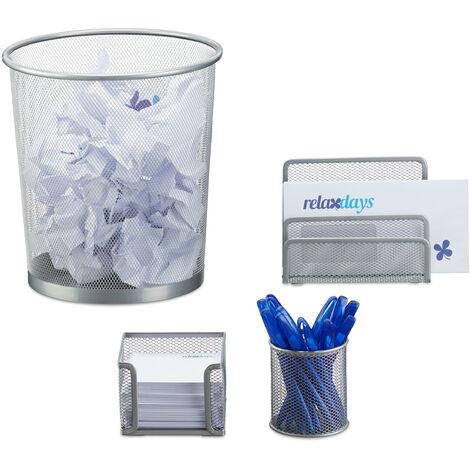 Set 4 Fournitures Bureau Métal Organiseur Trieur à Courrier Bloc-Notes Pot à Crayon Corbeille Papier, Argenté