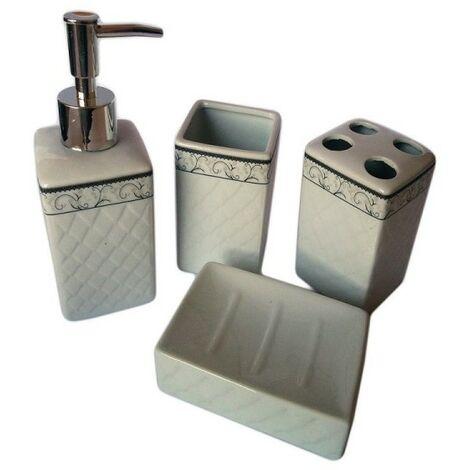Accessori Per Bagno In Ceramica.Set 4 Pz Accessori Bagno In Ceramica Da Appoggio Design Classico Con Decoro 10630