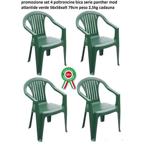 Sedie Di Plastica Impilabili.Set 4 Pz Poltrona Sedia Atlandite In Dura Resina Di Plastica Verde