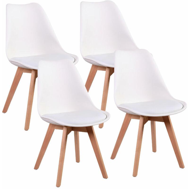 Set 4 Sedia ergonomica bianca con gambe in legno Candice