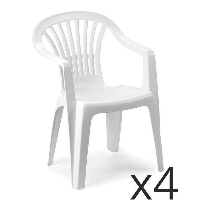 Sedie Plastica Impilabili Economiche.Set 4 Sedie Altea Impilabili In Polipropilene Colore Bianco 00002