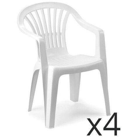 Fabbrica Sedie Plastica Impilabili.Set 4 Sedie Altea Impilabili In Polipropilene Colore Bianco 00002