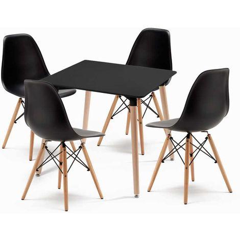 Set 4 sedie e tavolo quadrato per bar soggiorno pranzo KIKI ...