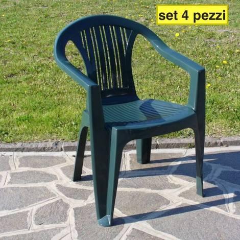 Set 4 sedie giardino esterno bar plastica poltrona con braccioli col ...