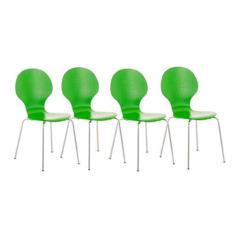 CLP - Set 4 Sedie Impilabili DIEGO in Legno Robusto Verde