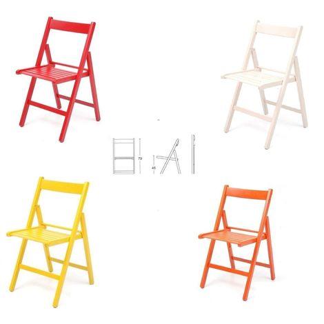 Sedie Pieghevoli Legno Colorate.Set 4 Sedie Pieghevoli A Libro In Legno Colorate Giallo Arancio Bianco Rosso