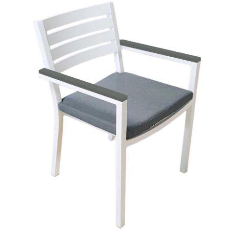 Set 4 Sedie Zoagli impilabili in alluminio bianco con braccioli in resin wood | Alluminio