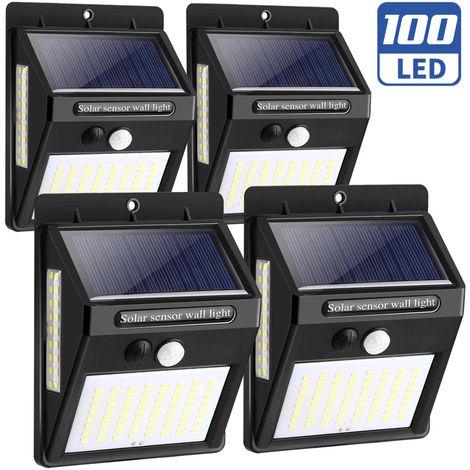 Set 4pz Lampada Faro LED Solare Faretto Sensore Movimento Luce Esterno Giardino