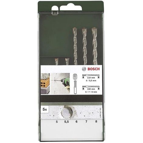Set 5 forets sds plus 5 a 10 mm pour Perforateur Bosch, Perforateur Ryobi, Perforateur Black & decker, Perforateur Skil, Perforateur Parkside, Perfora