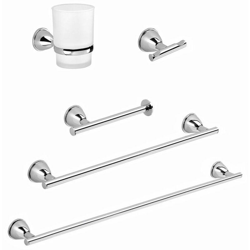 Maxjaa 4 pezzi Il kit di accessori per il bagno a parete include 304 portasciugamani in acciaio inox Portasciugamani Portasciugamani Anello porta carta igienica (Nero opaco)