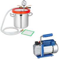 Set 50 l/min Pompe à vide + chambre de dégazage, piège à résine, pompe à vide