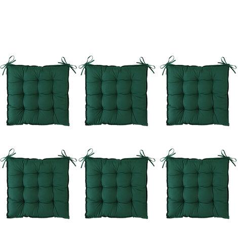 Detex Cuscini per Sedia x6 Effetto visco 45x45cm Cordoncini Interno Esterno sedie Giardino Cucina Cuscino coprisedia Verde