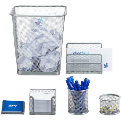Set 6 fournitures de bureau poubelle pot crayon bloc notes cartes de visite courrier métal, argenté