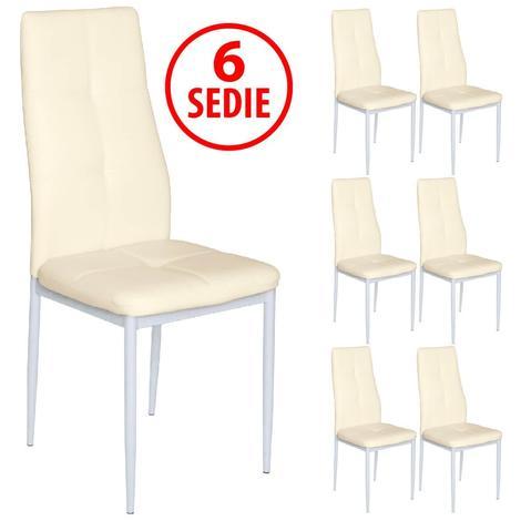 SET 6 SEDIE IN ECOPELLE IMBOTTITE MODERNE BEIGE A0043276 0
