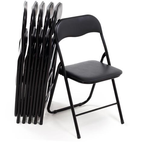 Set 6 Sedie pieghevoli stile moderno in metallo leggera e resistente colore  nero