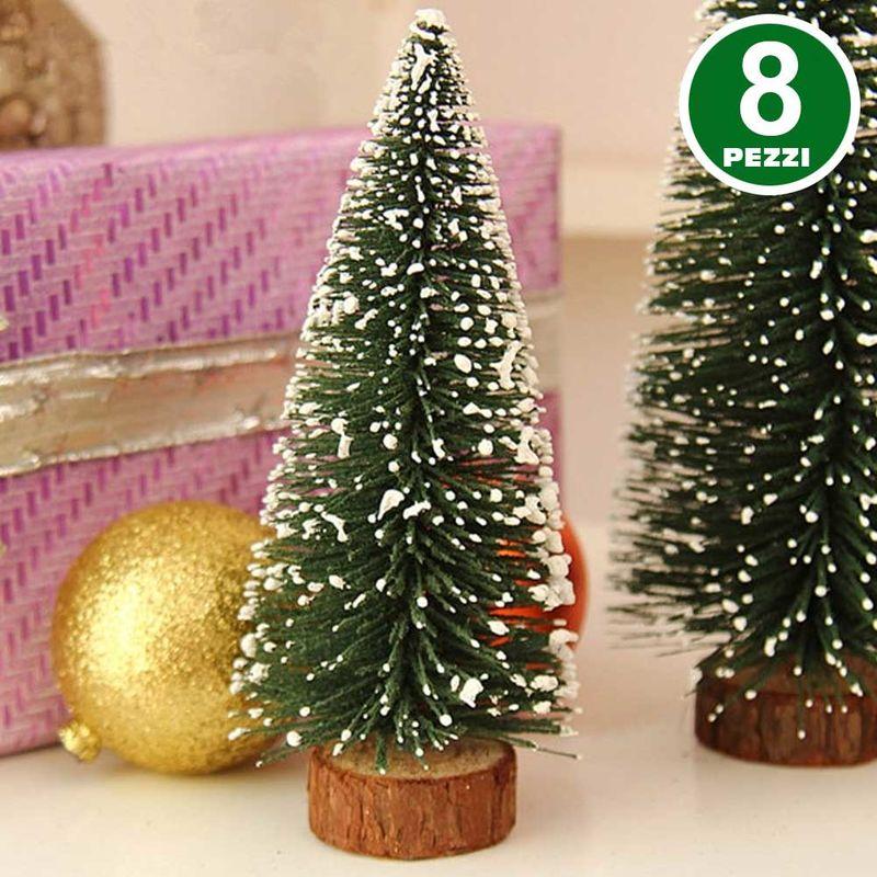 Alberelli Di Natale.Set 8 Alberelli Innevati Mini Albero Di Natale 16cm Decorazioni Addobbi Natalizi