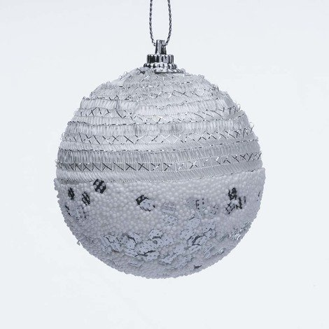 Foto Di Palline Di Natale.Set 8 Palline Di Natale In Polistirolo Decori Argento Bianco 7cm