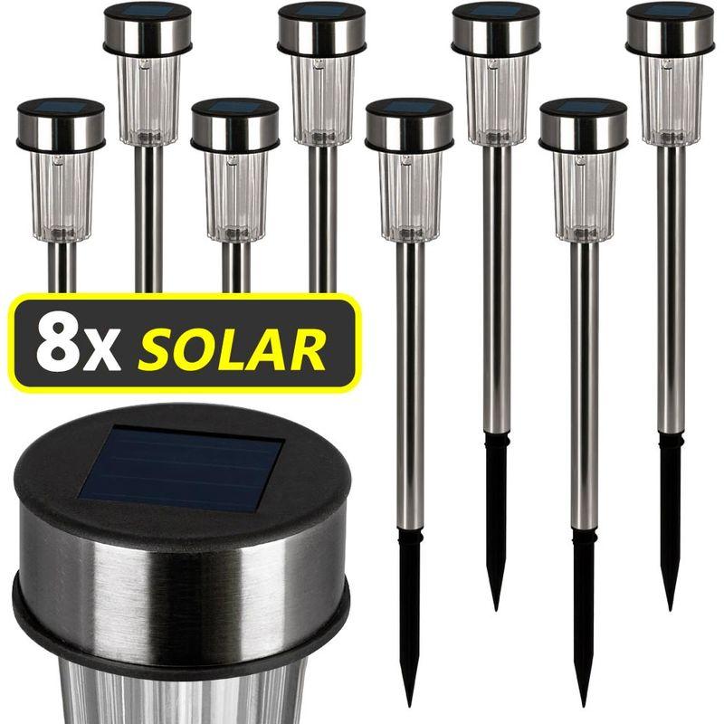 Bakaji Set 4 Lampade da Giardino con Ricarica Solare Paletti