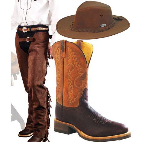 migliori scarpe da ginnastica 39679 e6c1e Set abbigliamento western uomo Chaps western e stivali in pelle con  cappello Umbria Equitazione