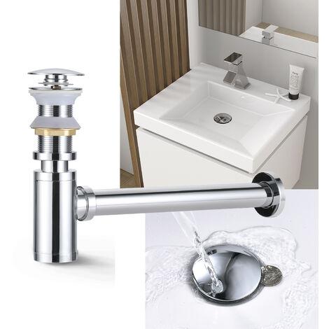 """Set Ablaufgarnitur Siphon + Ablaufventil ohne Überlauf für Waschbecken, WOOHSE Pop Up Ventil mit Geruchverschluss Höhenverstellbar für Waschtisch1 1/4"""", Abflussgarnitur aus Messing verchromt"""