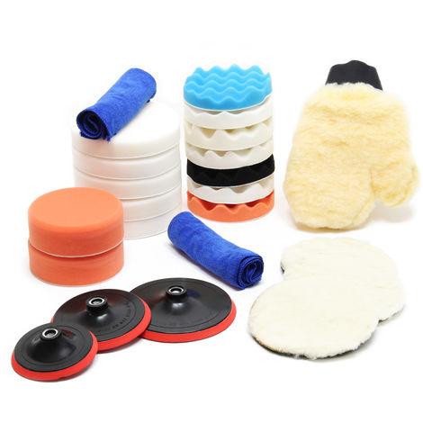 Set accesorios para pulidora 23 piezas Esponjas pulido en diferentes tamaños Pulir Encerar Automóvil