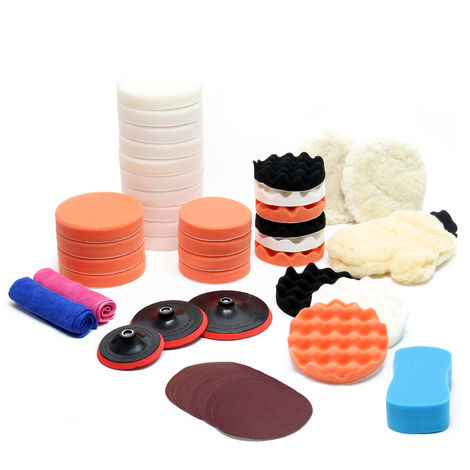 Set accesorios para pulidora 44 piezas Esponjas de pulido 150mm & 180mm Pulir Encerar Automóvil
