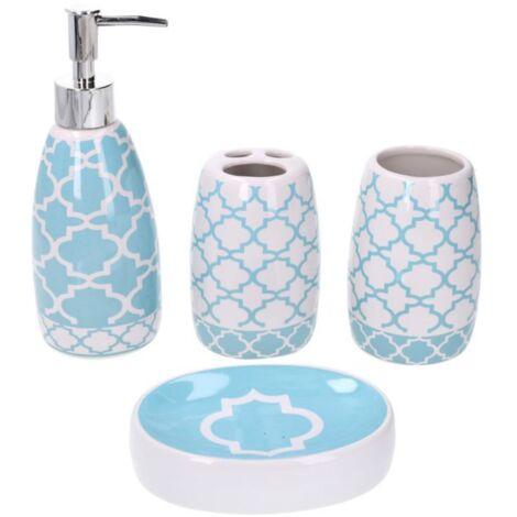 4 Pezzi Portascopino Portasaponetta Portaspazzolino BM 4087 Set di Accessori da Bagno in Ceramica Dispenser Bianco
