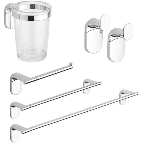 Accessori Da Bagno In Acciaio.Set Accessori Bagno Kit Completo Zero Cromo 5 Pezzi In